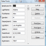 Data Form in Excel