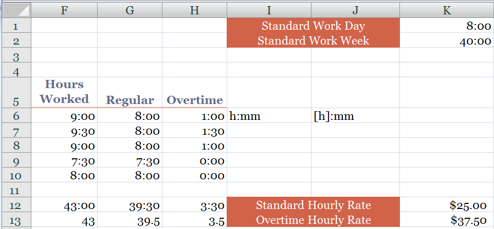 how to calculate overtime and standard hours worked on a