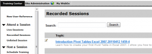 WebEx Recorded Sessions