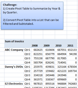 Convert Pivot Table to Standard List