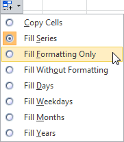 Excel AutoFill Options