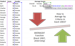 AverageIf Function in Excel