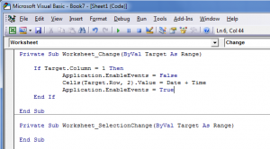 VBA Code to add Time Stamp