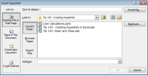 Hyperlink Dialog Box in Excel