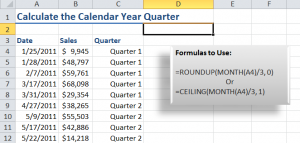Formulas to Calculate a Calendar Year Quarter