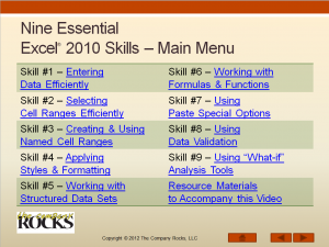 Main Menu Essential Skills for Excel