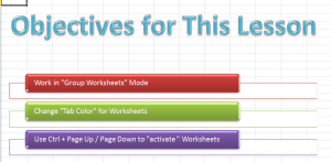 Objectives for Lesson - Working w Worksheets Part 1